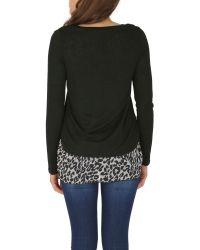 Izabel London Black Polyester Elastane Long Sleeve Animal