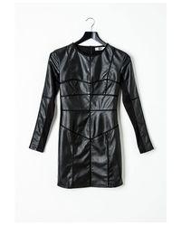 Missguided - Black Peace + Love Erin Leatherette Panel Detail Dress - Lyst