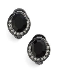 Givenchy | Black Button Clip Earrings - Hematite/ Jet Mix | Lyst