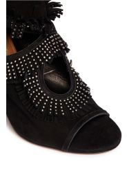 Aquazzura - Black 'sexy Fringe' Stud Suede Sandals - Lyst