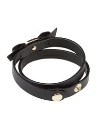 Ferragamo Black Vara Bow Leather Wrap Bracelet