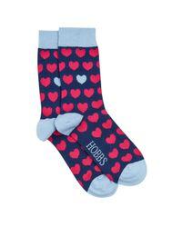 Hobbs | Blue Heart Sock | Lyst