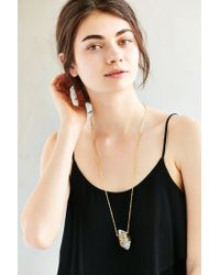 Urban Outfitters Metallic Geo Wrapped Crystal Pendant Necklace