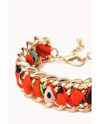 Forever 21 - Orange Woven Chain Bracelet - Lyst