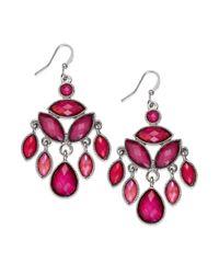 Style & Co. | Metallic Silvertone Red Cabochon Chandelier Earrings | Lyst