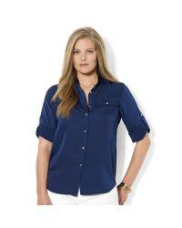 Lauren by Ralph Lauren - Blue Roll-tab-sleeve Satin Utility Shirt - Lyst