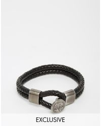 Simon Carter | Black Swarovski Skull Leather Bracelet Exclusive To Asos for Men | Lyst