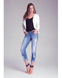 Bebe White Christa Leather Jacket