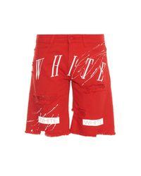 Off-White c/o Virgil Abloh Red New White Paint-Splatter Print Denim Shorts for men