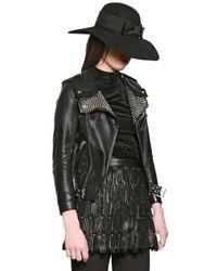 Saint Laurent Black Nappa Leather Studded Moto Jacket