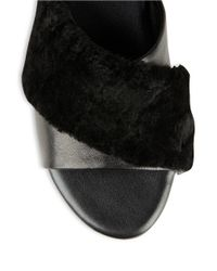 Newbark | Black Yasmin Shearling And Leather Slides | Lyst