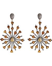 Carole Shashona | Yellow Women's Sun Sparkler Earrings | Lyst