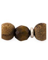 Eleventy Brown Wood Beaded Bracelet for men