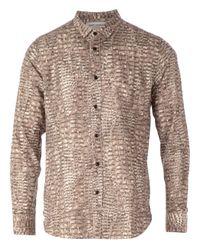 Saint Laurent Brown Alligator Skin Print Shirt for men