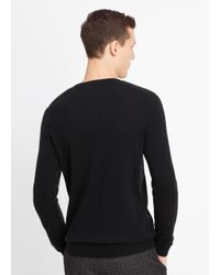Vince Black Wool Cashmere Stitch-mix Moto Henley Sweater for men