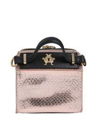 Giancarlo Petriglia - Pink Mini Clary Metallic Elaphe Shoulder Bag - Lyst