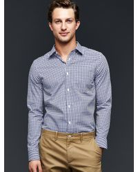 Gap - Blue Wrinkle-resistant Gingham Shirt (slim Fit) for Men - Lyst
