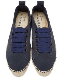 Manebí - Blue Navy Suede Lace-up Hamptons Espadrilles - Lyst