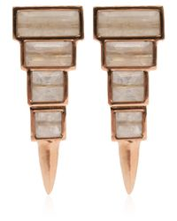 Nak Armstrong - Pink Rose Gold Rainbow Moonstone Earrings - Lyst
