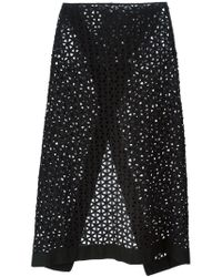 Kitx Black Broderie Anglaise Slit Skirt