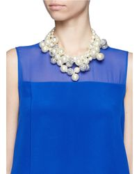 Kenneth Jay Lane - White Pearl And Crystal Pavé Cluster Necklace - Lyst