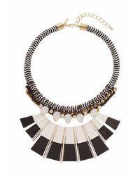TOPSHOP - Black Rope And Rhinestone Piano Key Necklace - Lyst