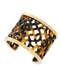 Tory Burch - Brown Chantal Perforated Tortoise Acetate Cuff - Lyst