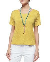 Eileen Fisher | Yellow Organic Linen T-Shirt | Lyst