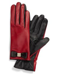 kate spade new york | Red 'bow Logo' Gloves | Lyst