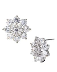 Betsey Johnson | Metallic Clear Stone Flower Stud Earrings | Lyst