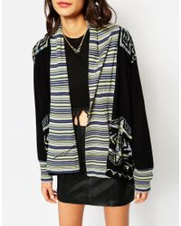 Gypsy 05 - Blue Intarsia High Low Shawl Cardigan - Lyst