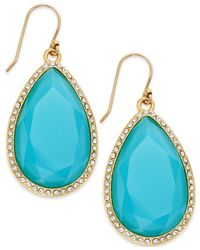 kate spade new york | Blue 14K Gold-Plated Pavé Faceted Teardrop Earrings | Lyst
