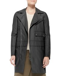 Belstaff - Black Asymmetric Zip Cotton Coat - Lyst