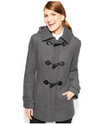 Calvin Klein Gray Faux-leather-trim Toggle Wool-blend Coat