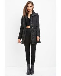 Forever 21 | Black Drawstring-waist Puffer Jacket | Lyst