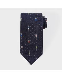 Paul Smith - Blue Men's Navy 'overhead Cyclists' Polka Dot Silk Tie for Men - Lyst