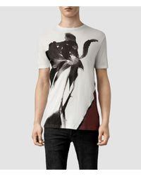 AllSaints Gray Disperse Tonic Crew T-Shirt for men