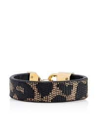 Tory Burch - Black Lock Closure Bracelet - Lyst