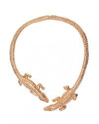 Bernard Delettrez | Metallic Double Crocodile Necklace | Lyst