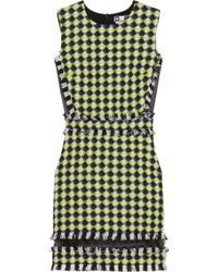 MSGM Yellow Organza-paneled Tweed Mini Dress