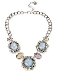 Betsey Johnson | Blue Silver-Tone Star And Cloud Cabochon Frontal Necklace | Lyst