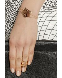 KENZO - Metallic Tiger Goldplated Cubic Zirconia Bracelet - Lyst