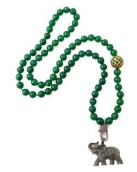 CB Bronfman Green Diamond Elephant Bead Necklace