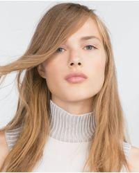 Zara   White High Neck Top   Lyst