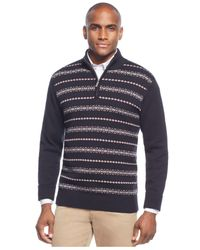 Geoffrey Beene | Black Patterned Stripe 1/4-zip Sweater for Men | Lyst