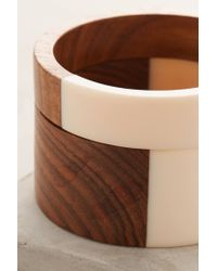 Anthropologie | Brown Woodblock Swirl Bangles | Lyst