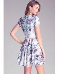 Bebe Multicolor Mix Print Circle Dress