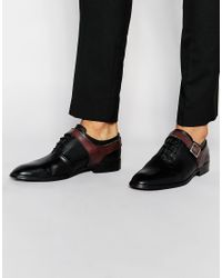 ASOS | Red Oxford Shoes In Black Leather With Buckle Strap for Men | Lyst