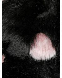 Kreisi Couture Black Faux Fur Polka Dot Hat With Visor for men