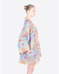 Valentino | Blue Kimono Coat In Brocade | Lyst